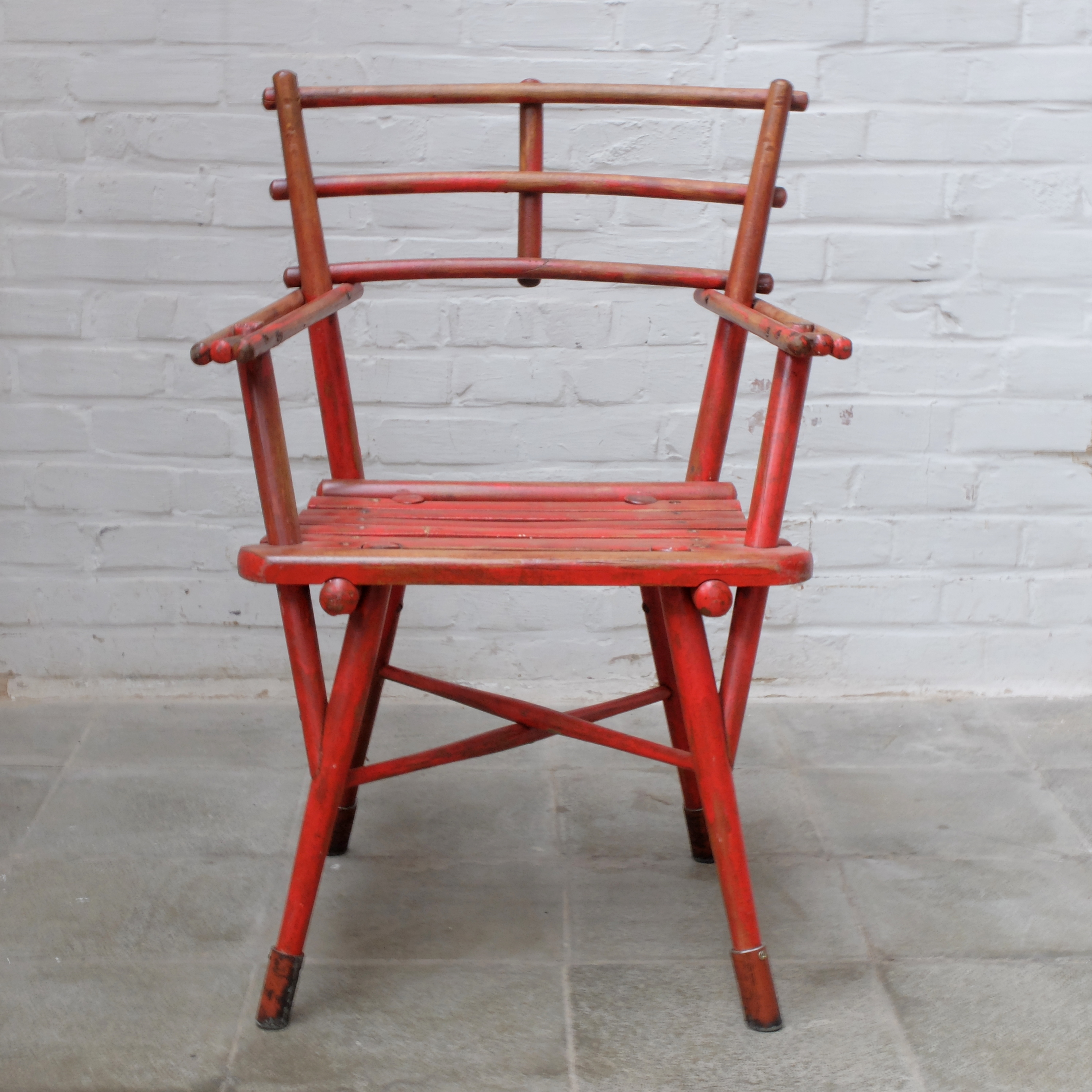 Red Wooden Thinking Chair